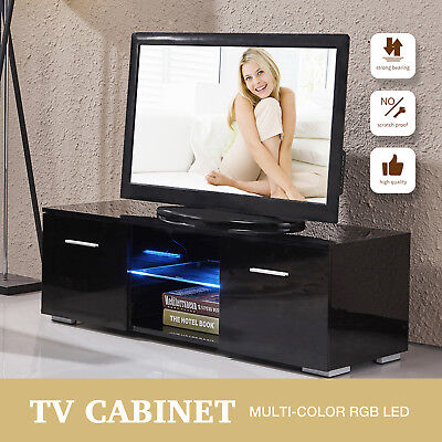 Tv Stand High Gloss Tv Unit Cabinet Entertainment Media Console Furniture Black