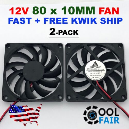 12V 80mm x 10mm Cooling Case Fan 8010 2pin 80x80x10mm DC for PC Computer 2-Pack