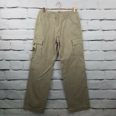 Harley Davidson Motorcycle Mens Khaki Cotton Cargo Pants w/ Patch Size 31X36