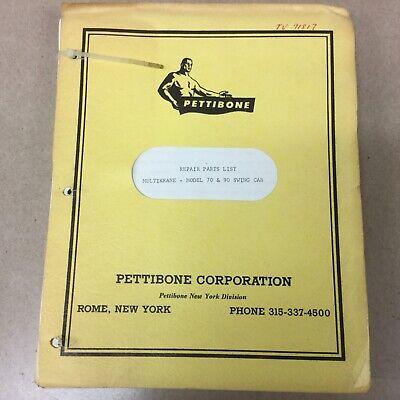 Pettibone 70 90 Crane Repair Parts Manual Book Catalog List Swing Cab Multikrane