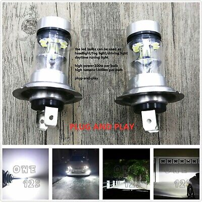 6000k Xenon Hid Fog Light (Super Bright Premium H7 6000K White 55W CREE LED Fog Light Conversion Bulbs Kit )