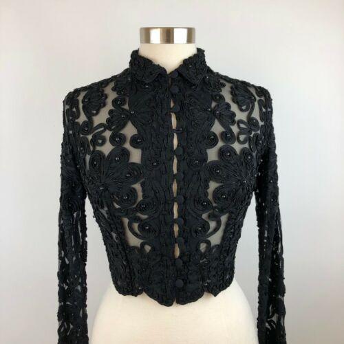 Cache Vintage Soutache Beaded Black Buttoned Top S