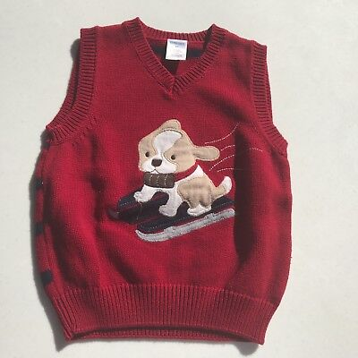 Little Boy Gymboree Sweater Vest Holiday Christmas Dog Sled Knit Red Size 2T