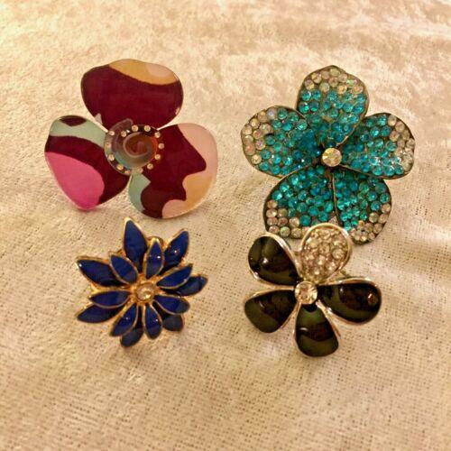 4 LARGE Vintage FLOWER RINGS Rhinestone Lucite Enamel Size 7 & 8