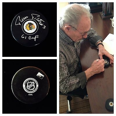 Pierre Pilote Chicago Blackhawks Signed Autograph Hockey Puck 61 Cup Champs NHL