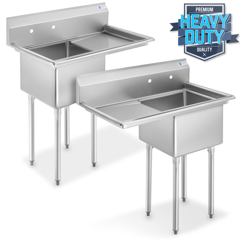 """NSF Stainless Steel 18"""" Single Bowl Commercial Kitchen Sink w/ Drainboard"""