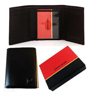 Pierre Cardin Genuine Italian Soft Leather Black Mens Trifold Wallet NEW IN BOX