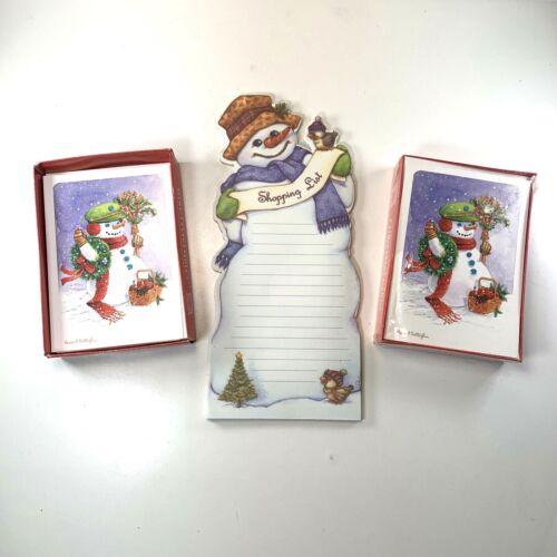 Christmas Lot of 28x PMG Christmas Greeting Cards + Snowman Shopping List Pad