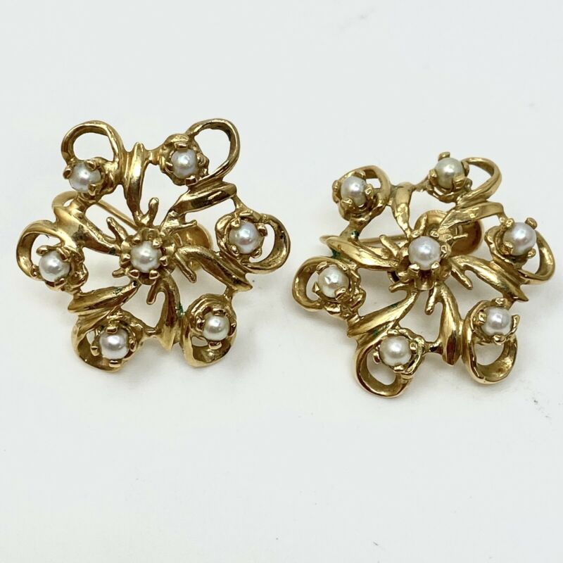 14K Gold and Pearl Screw Back Earrings (8g tw with Pearls) Antique