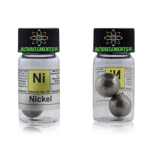 >10 grams 99,99% Nickel metal shiny spheres element 28 N, in labeled glass vial