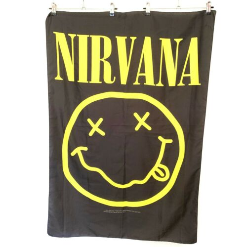 Vintage Nirvana Flag 1995 Heart Rock Italy Made In Italy Music 110cm x 76cm