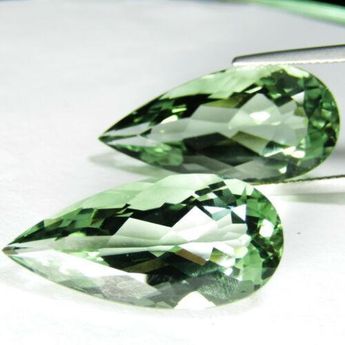 27.30Cts Natural Green Amethyst (prasiolite) Pear Shape Matching Pair REF VDO