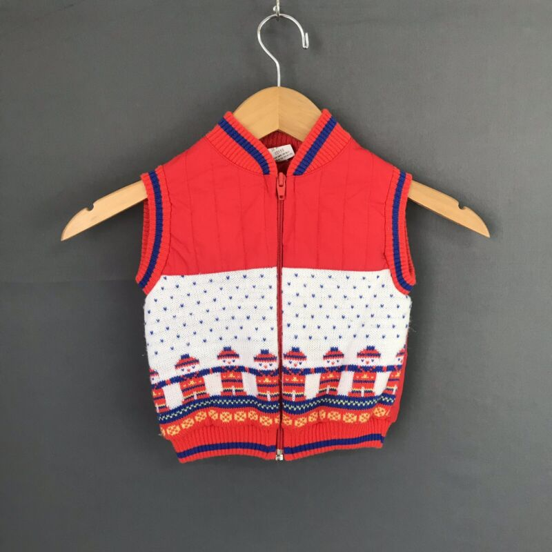 Vintage Baby Boy 18 Months Quilted Vest Red Winter Fair Isle Toddler Zip Up