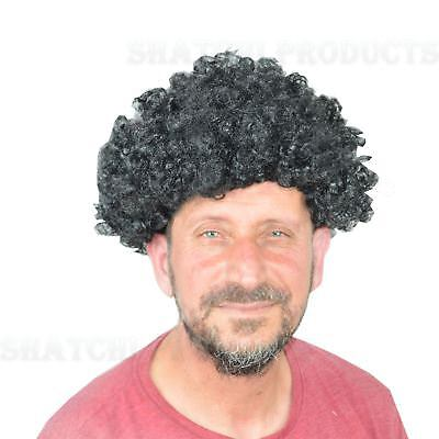 Black Curly Afro Wig Fancy Dress Party Costume Accessory Disco Clown Unisex - Black Clown Wig