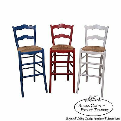 Quality Set of 3 French Country Red White & Blue Rush Seat Bar Stools (Rush Seat Stool Set)