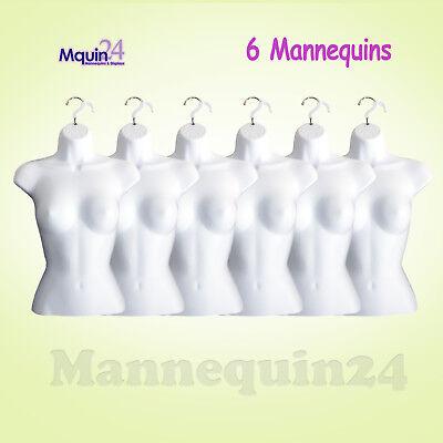 6 Pcs Female Mannequin Torsos - 6 White Plastic Women Hanging Dress Forms