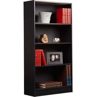 Black Wood Storage - Adjustable Wood Bookcase Storage Book Shelving Bookshelf 4 Shelf Furniture Black