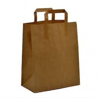 1000 X Small Brown Kraft Flat Handled Sos Paper Bag - 18cm X 22cm X 8cm