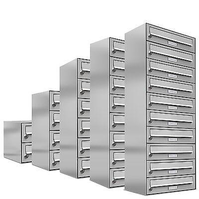 Edelstahl Briefkastenanlage Wandbriefkasten für die Aufputz Montage 1 - 10