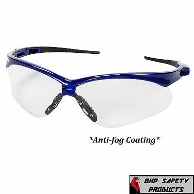 Jackson Nemesis Safety Glasses 47384 Clear Anti-fog Lens Blue Frame Z87 1 Pr