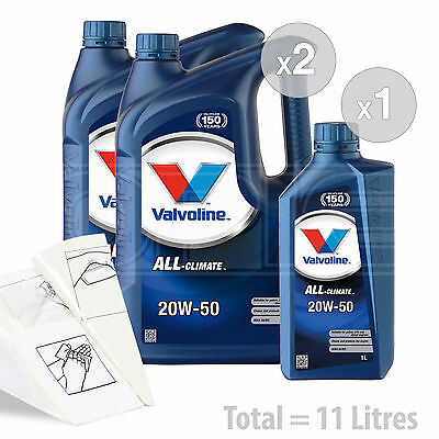 Car Engine Oil Service Kit  Pack 11 LITRES Valvoline All Climate 20w 50 11L