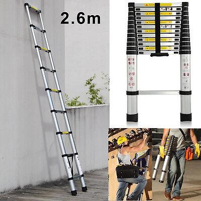 Multi-Purpose 2.6m 9 Step Aluminium Telescopic Ladder Extension Extendable 150KG