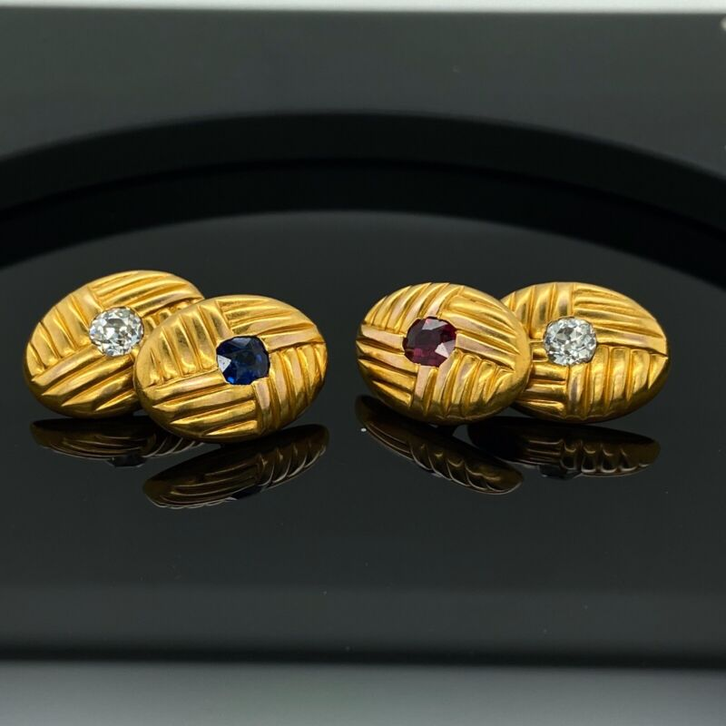 18K Vintage Old Miner Diamonds / Ruby / Sapphire Cufflinks 1900s