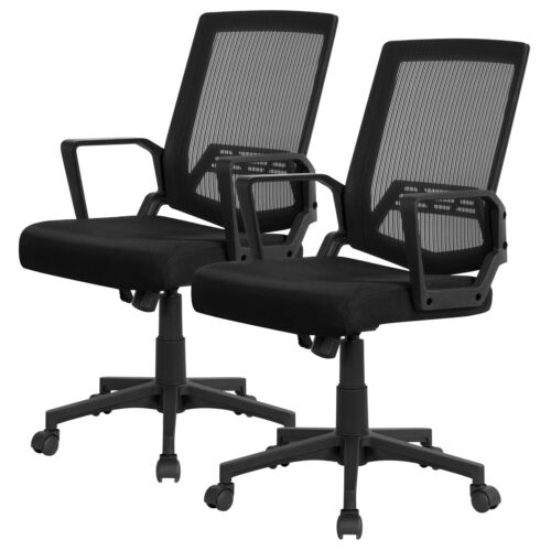 Pack of 2  Mid-Back Mesh Office Chair Computer Chair Desk Ch