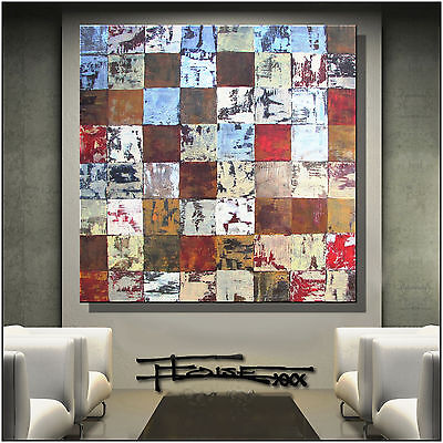 ABSTRACT MODERN PAINTING Canvas WALL ART Framed, Signed, Large US ELOISExxx - $185.00