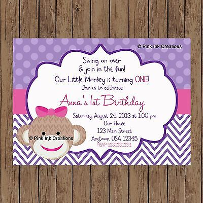 Sock Monkey Invitations (Sock Monkey Girl Birthday Invitation / Monkey Baby Shower Invitation /)