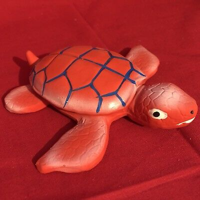 Dog Toy 5 Inch Wide Latex Squeaky Red Turtle Fun Colours Cartoon