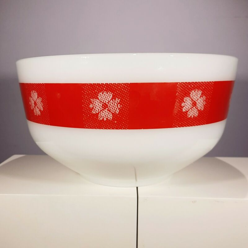 Vintage Federal Glass Milk Glass Red Checked Gingham Kitchen Mixing Bowl