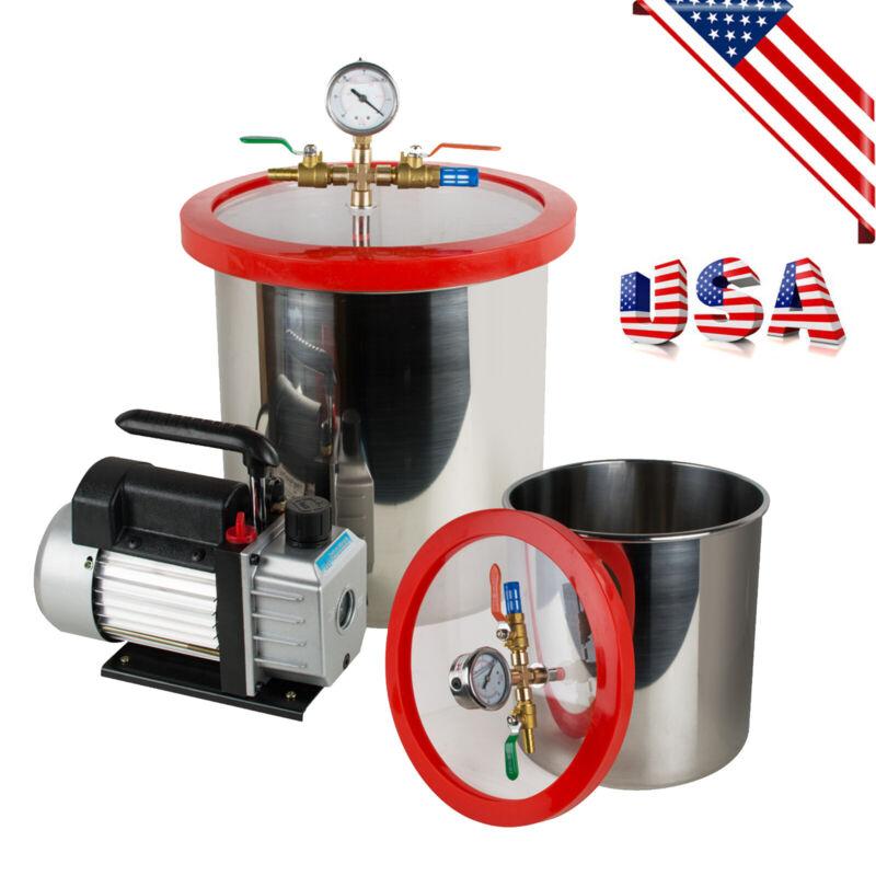 *US Warehouse* 5 Gallon Stainless Steel Vacuum Degassing Chamber Kit 3CFM Pump