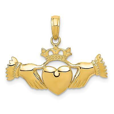 14k Yellow Gold Solid Polished Flat-Backed Claddagh Charm Pendant 21.5mmx28mm ()