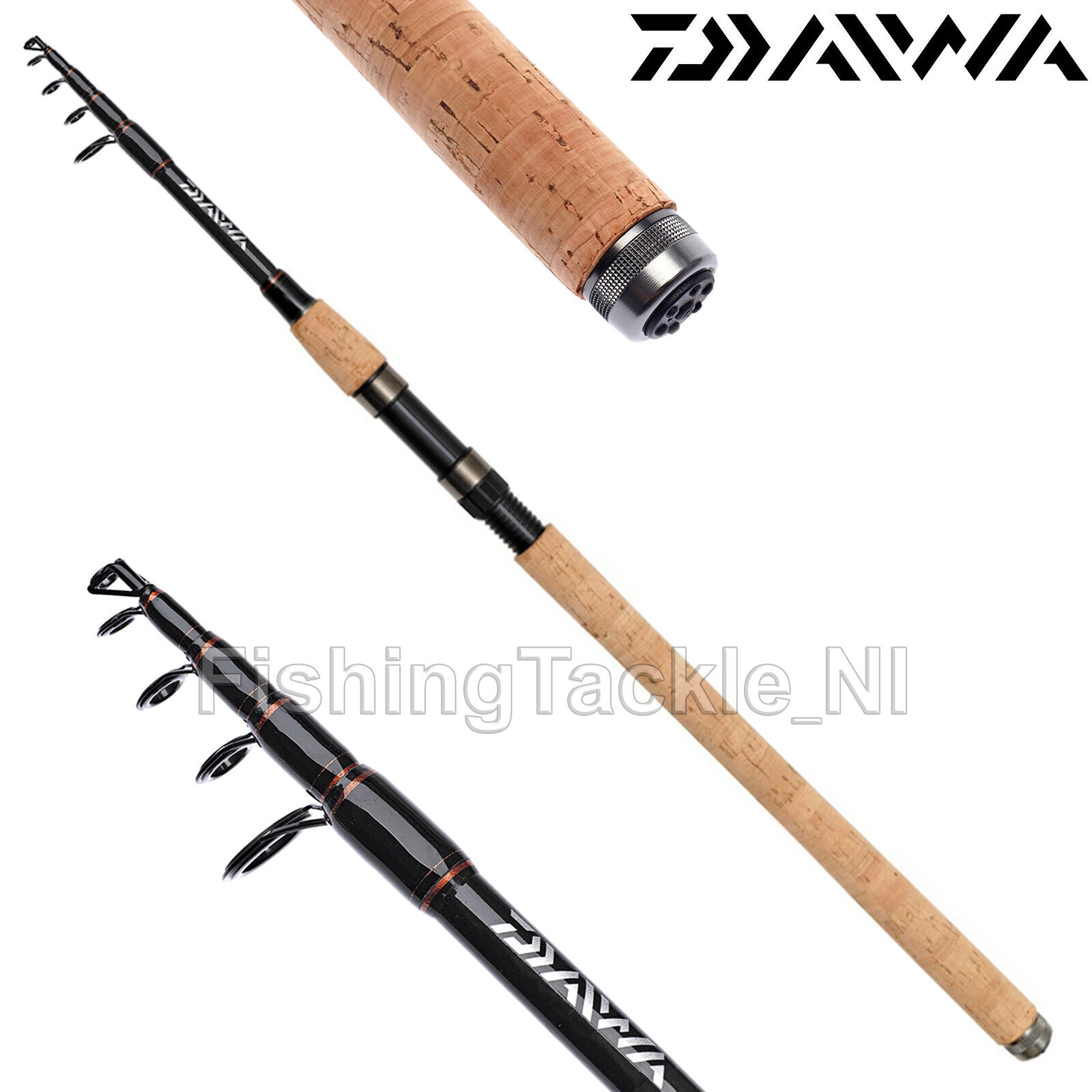 Details about Daiwa Sweepfire Telespin Cork Handle Telescopic Fishing Rod 8ft, 9ft, 10ft