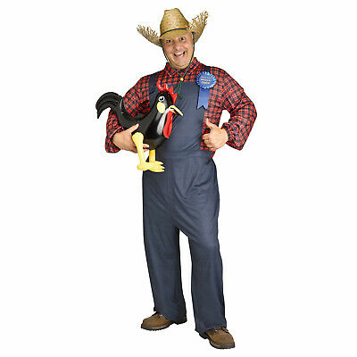 Funny Halloween Costumes Mens (Adult Men's Redneck Farmer Funny Halloween Costume Rooster Overalls Straw)