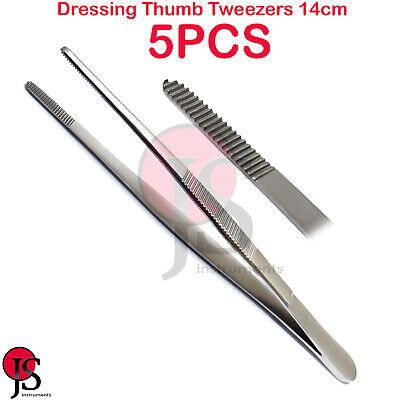 5pcs Anatomical Thumb Tweezers Dressing Dental Surgical Plier Stainless Steel