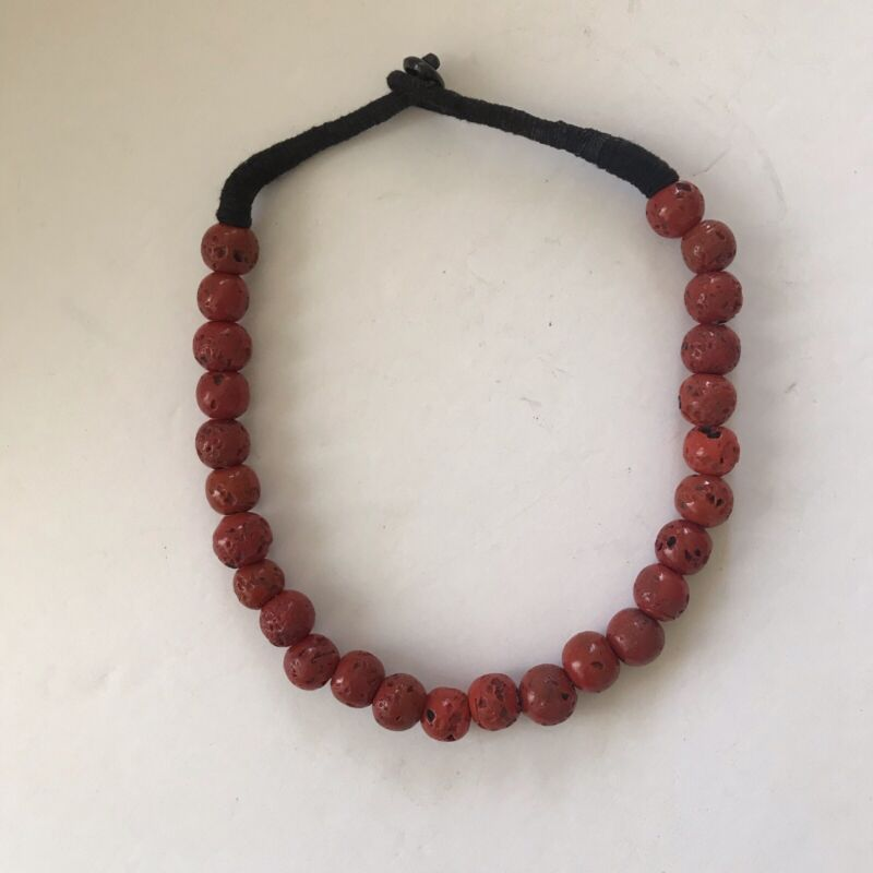 """Tibetan Sherpa Sand Casted Coral Glass Beads Necklace 20"""" - handmade vintage"""