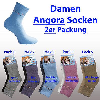 2 Paar Angora Socken Wollsocken warm Winter Thermo atmungsaktiv 35-38 39-42 ---- - Angora Socken