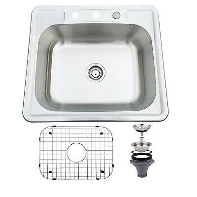 25''x 22'' Single Bowl Stainless Steel Kitchen Sink 16 Gauge Drop Undermount
