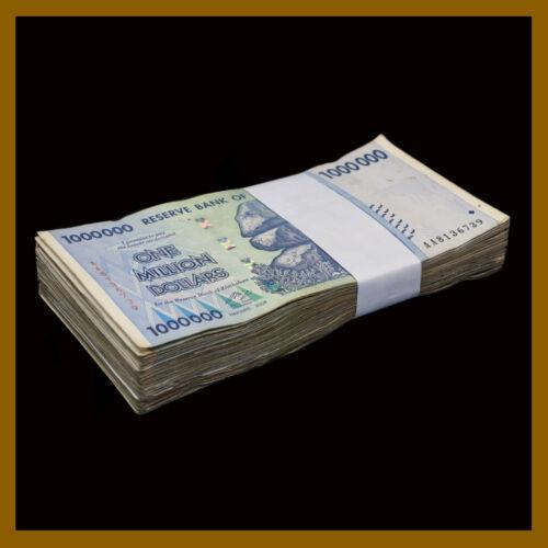 Zimbabwe 1 Million (1,000,000) Dollars x 100 Pcs Bundle Lot , 2008 Used Cir