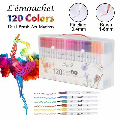 100/120 Colour Brush Pens Twin Tip Marker Watercolor Drawing Painting Artists