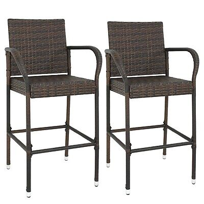 2PCS Rattan Wicker Bar Stool Outdoor Backyard Patio Furniture Chair with Armrest ()