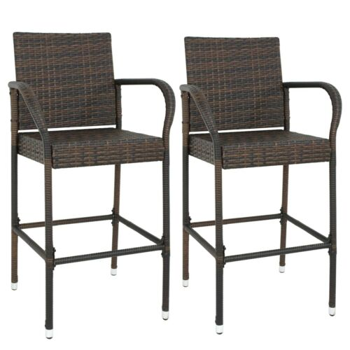 Garden Furniture - 2PCS Rattan Wicker Bar Stool Outdoor Backyard Patio Furniture Chair with Armrest