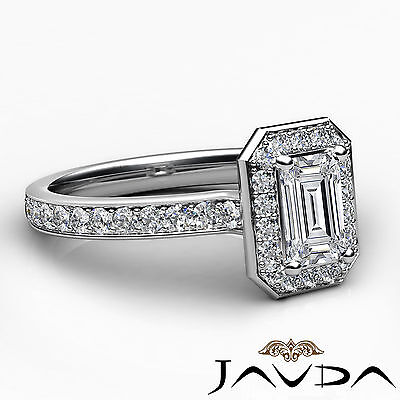 Emerald Cut Halo Pave Set Diamond Engagement Ring GIA G VS1 Platinum 950 0.95Ct 2