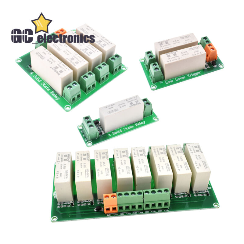 DC-DC 1/2/4/8 Channel SSR Solid State Relay Low Trigger 5A 0-2V for Arduino A3GS