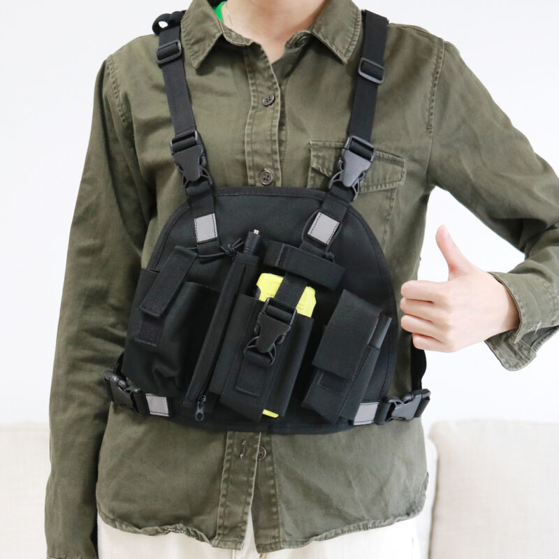 Reflective Chest Harness Bag Pack Pouch Holster Vest Rig for Kenwood Radio