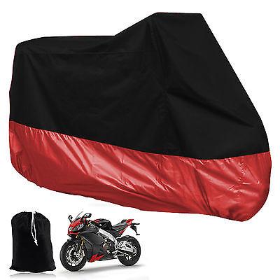 XXL Motorcycle Waterproof Outdoor Motorbike Rain Vented Bike Cover 2XL Black Red