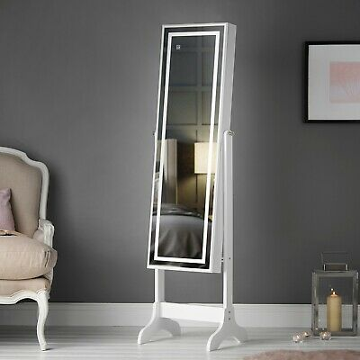 White Free Standing Full Length Jewellery Mirror Cabinet Touch LED Light Storage