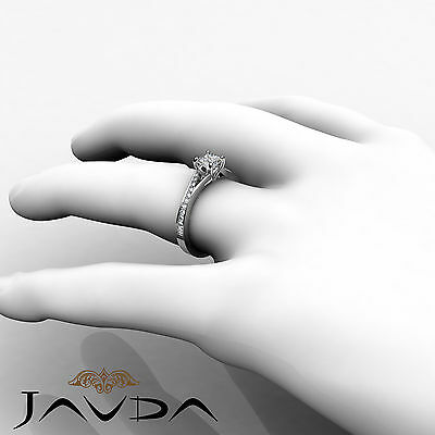 Classic Side Stone Pave Princess Diamond Engagement Ring GIA D Color SI1 0.85Ct 5
